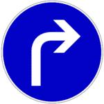Verkehrszeichen 209: Rechts (abbiegen)