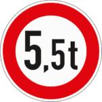 Zeichen 262: Verbot für Fahrzeuge über dem angegebenen Gewicht
