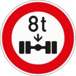 Zeichen 263: Verbot für Fahrzeuge mit einer höheren Achslast als die angegebene