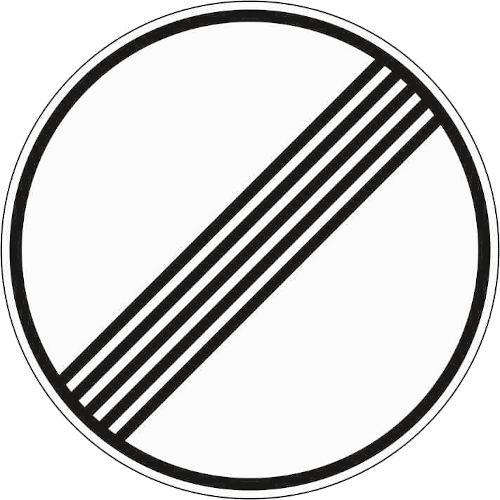 VZ 282: Ende sämtlicher streckenbezogener Geschwindigkeitsbeschränkungen und Überholverbote