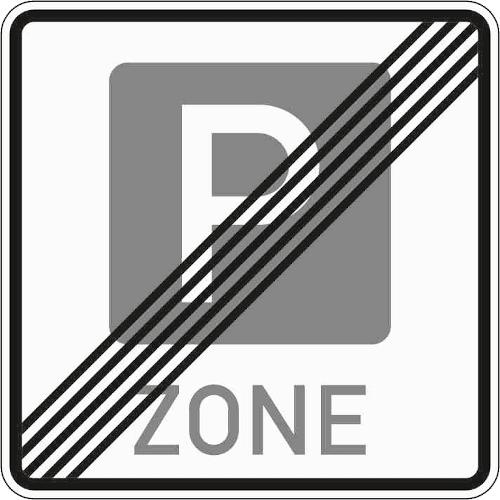 Zeichen 314-2: Ende der Parkzone