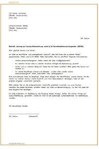 Antrag nach § 34 BDSG auf Auskunft Muster