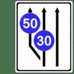 Zeichen 545: Aufweitung der Fahrbahnen mit Mindestgeschwindigkeiten