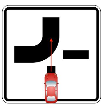 Abknickende Vorfahrt: Auto befindet sich auf der Nebenstraße, will geradeaus auf die Hauptstraße fahren und muss Vorfahrt gewähren.