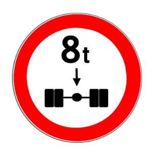 Die maximale Achslast kann durch dieses Verkehrsschild eingeschränkt werden.