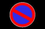 Roter Kreis, blauer Grund und ein Strich: Hier besteht Parkverbot.
