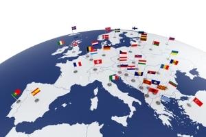 In Europa sind Länderkennzeichen besonders markiert.