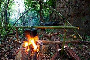 Illegal Feuer machen im Wald ist sehr gefährlich und kann zu Waldbränden führen