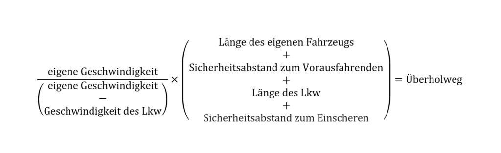 Formel zum Überholweg