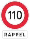 Frankreich: Verkehrsschild zur Höchstgeschwindigkeit mit Erinnerung.