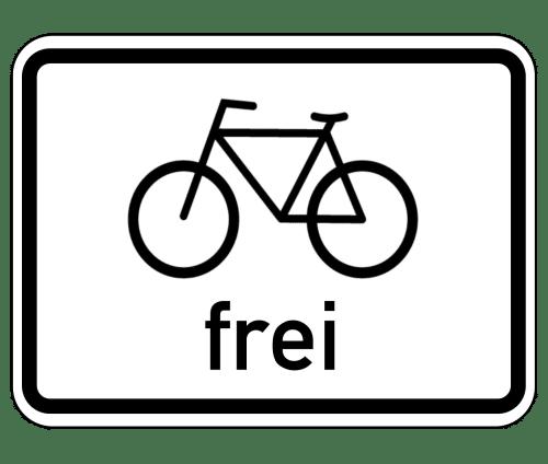 Zusatzzeichen: Für Radverkehr freigegeben