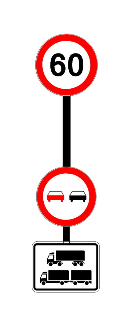 Grafik: Verkehrsschilde rund Zusatzzeichen