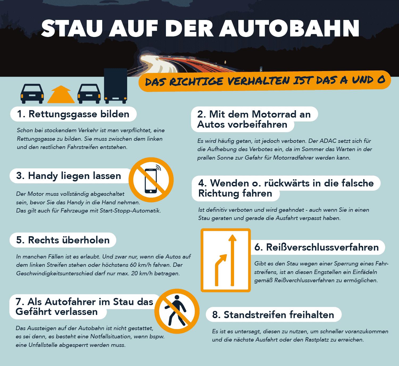 Infografik zum richtigen Verhalten bei Stau auf Autobahnen