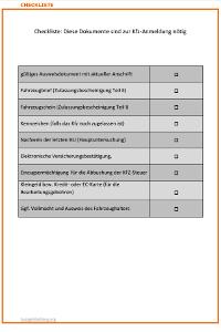 Problemlose Kfz-Anmeldung dank Checkliste!