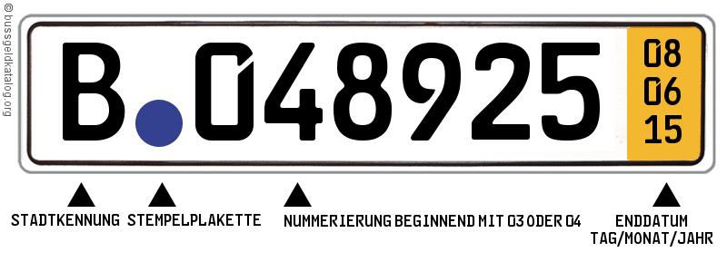 Kurzzeitkennzeichen Aussehen:  Es gibt kein Eurofeld am linken Rand. Auffälligste Merkmal ist das gelbe Feld am rechten Rand mit Enddatum in schwarzer Schrift.
