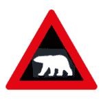 Verkehrszeichen Norwegen: Achtung, Eisbär.