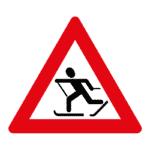 Verkehrszeichen Norwegen: Achtung, Skiläufer.