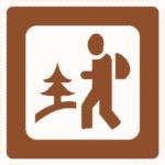 Verkehrszeichen Norwegen: Hinweis auf Wanderrouten
