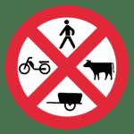 Portugal: Verkehrszeichen Verbot für Verkehrsteilnehmer