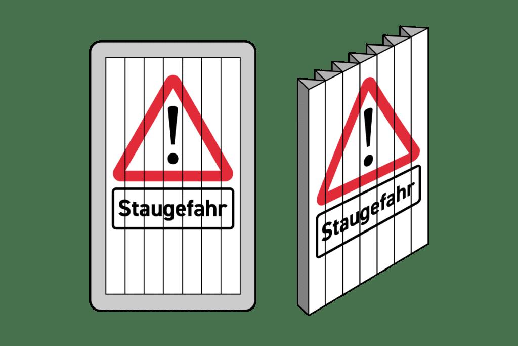 Prismentechnik bei Wechselverkehrszeichen: Mechanischen Zeichen verfügen über motorbetriebene, drehbare Flächen.
