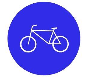 Radfahrstreifen: Durch eine Markierung und das Schild 237 angezeigt.