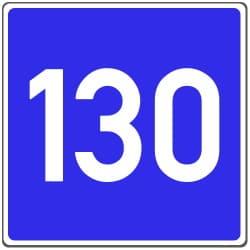 Verkehrszeichen 380 zeigt die Richtgeschwindigkeit auf der Autobahn an.