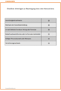 Rote Kennzeichen beantragen: Checkliste