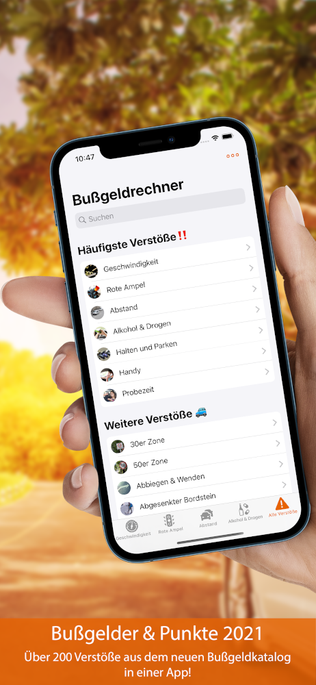 Vorschau Bußgeldrechner-App Screen 1