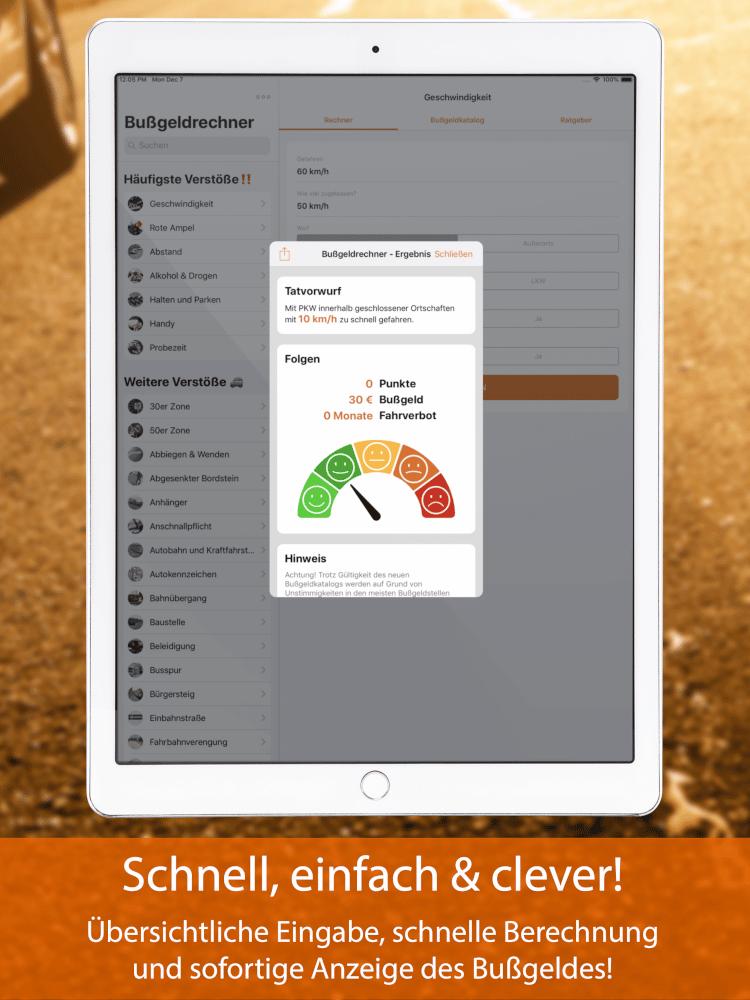 Bußgeldrechner-App fürs iPad