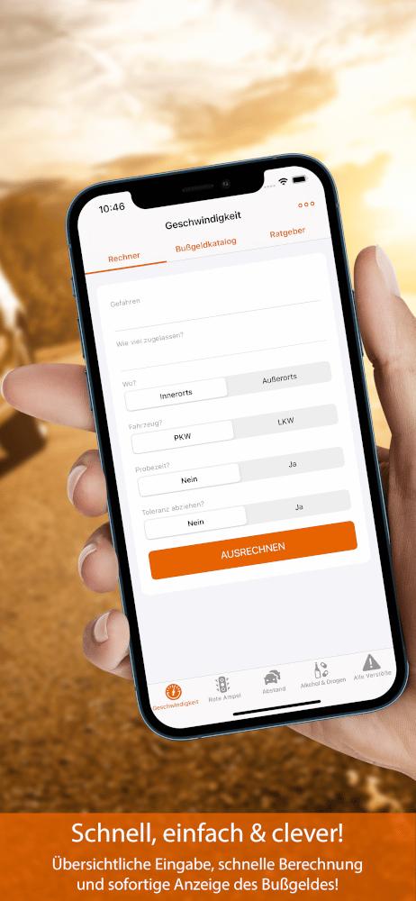 Vorschau Bußgeldrechner-App Screen 2