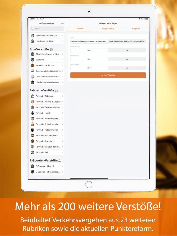 Bußgeldrechner-App fürs iPad Screen 5