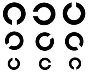 Der Sehtest für die Führerscheinklasse B, bestehend aus Landolt-Ringen