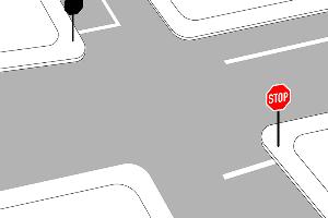 An einem Stoppschild müssen Sie an der Haltelinie halten. Die Sichtlinie ist nur eine gedachte Hilfslinie.