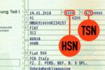 Die Typschlüsselnummer steht neben der Herstellerschlüsselnummer in der Zulassungsbescheinigung.