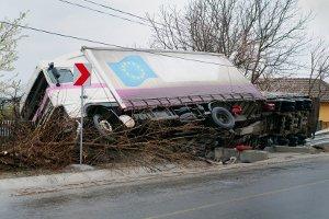 Ein LKW war in einen Unfall verwickelt