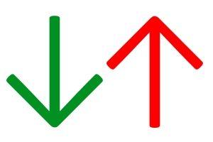 Veränderungen der Regionalklassen kennzeichnet der GVD mit grünen und roten Pfeilen