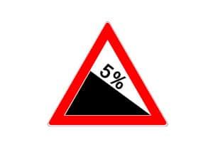 Anders als beim Verkehrsschild für Steigung fällt bei dem für Gefälle die Ebene von links nach rechts ab.