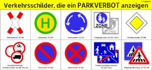 Diese Verkehrsschilder können ein Parkverbot anzeigen.