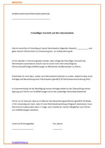 Verzicht Auf Die Fahrerlaubnis Fuhrerschein 2019