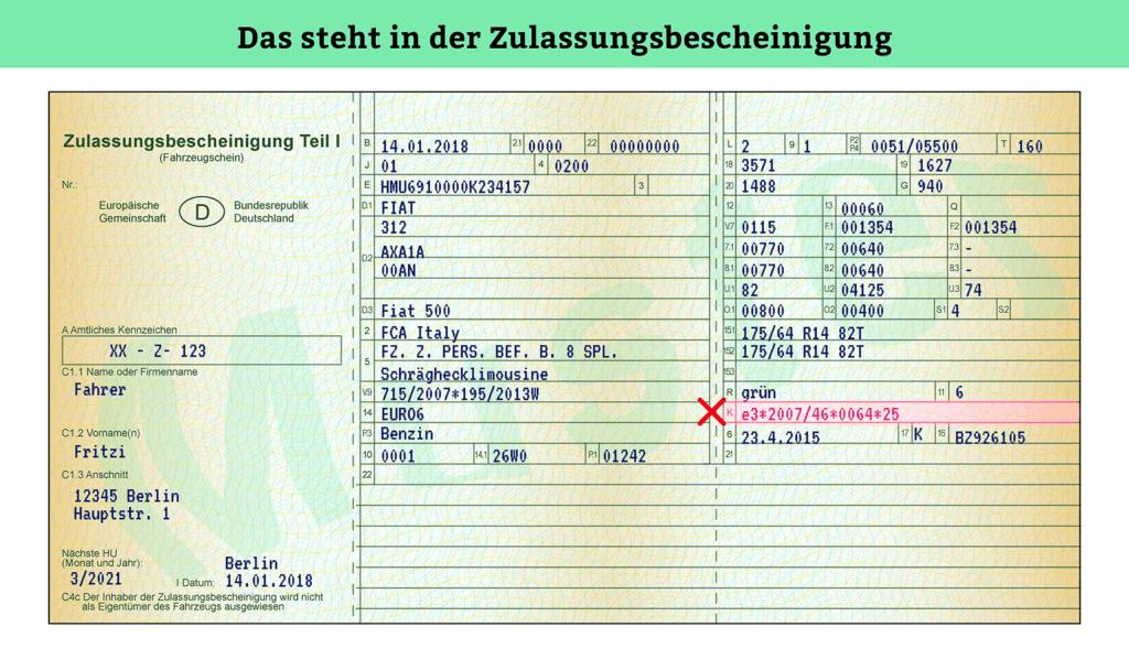 Zulassungsbescheinigung Teil 1: EG-Typengenehmigung