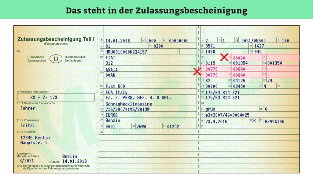 Zulassungsbescheinigung Teil 1: Stützlast & Achslast
